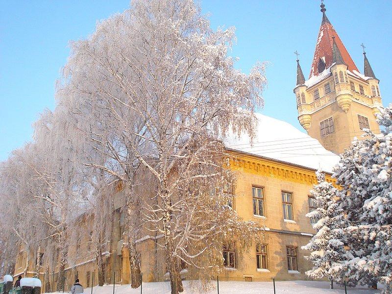 Feštetić castle covered in snow